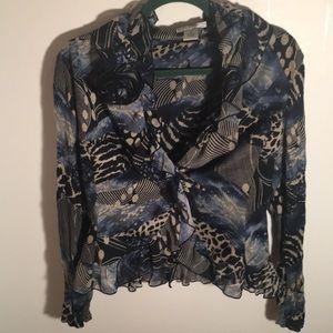 Alberto Makali ruffled semi sheer blouse